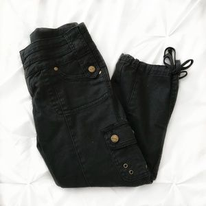 Black Cargo Capri Pants